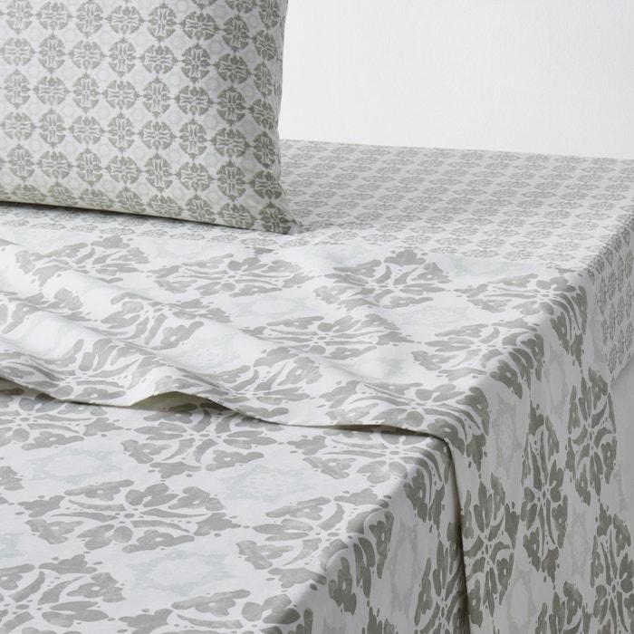 drap plat imprim terrington la redoute interieurs bleu gris la redoute. Black Bedroom Furniture Sets. Home Design Ideas