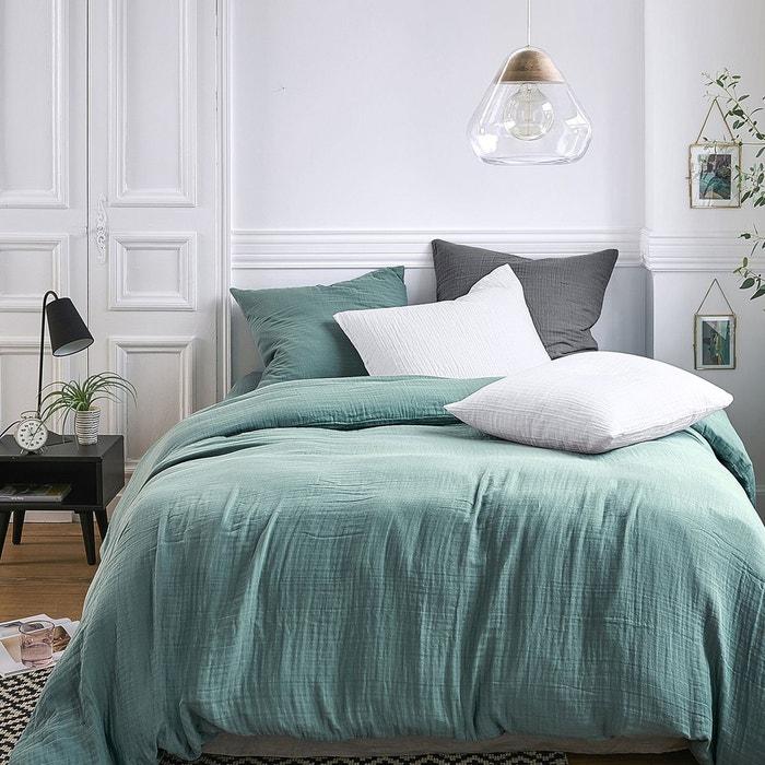 housse de couette unie en gaze de coton snow la redoute. Black Bedroom Furniture Sets. Home Design Ideas