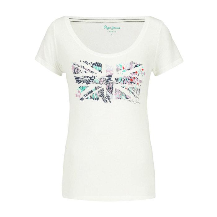 T-shirt scollo rotondo maniche corte fantasia davanti  PEPE JEANS image 0