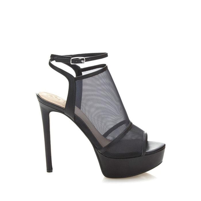 Sandale felixa detail transparent noir Guess