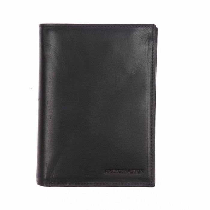 Portefeuille européen à 4 volets Arthur&Aston en cuir lisse noir 1mNfzNs