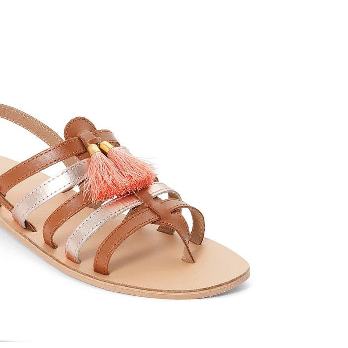 Sandales plates cuir détail pompons multicolore Mademoiselle R