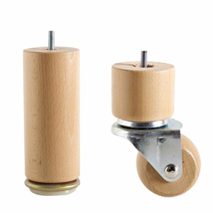afbeelding Poten voor beddenbodem op wieltjes + geleiders (set van 4) La Redoute Interieurs