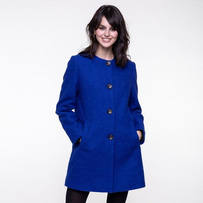 Manteau femme laine sans col
