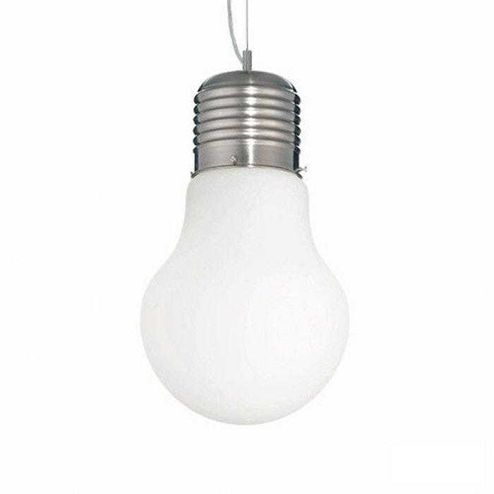 Suspension simple luce bianco blanche en verre blanc keria la redoute - Keria luminaire suspension ...