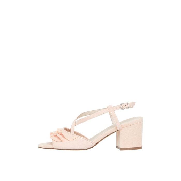 Sandales talon plein à volants Bianco