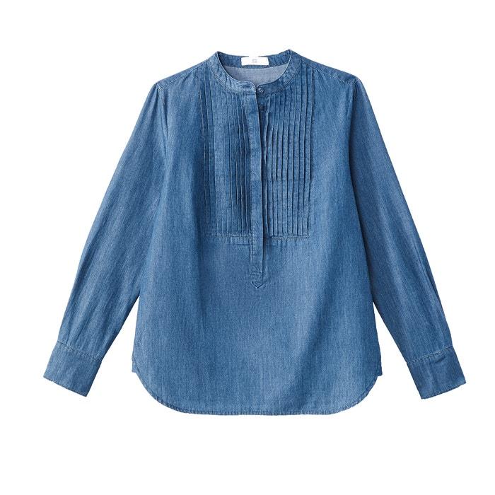 1b08b76965 Pleated bib mandarin collar denim shirt stonewashed La Redoute Collections
