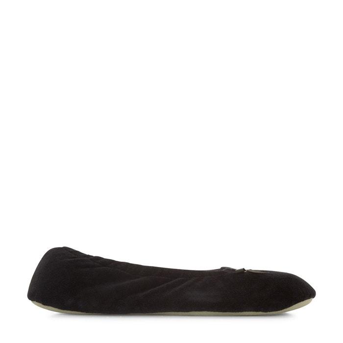 Chaussons ballerines en velours  noir Monoprix  La Redoute
