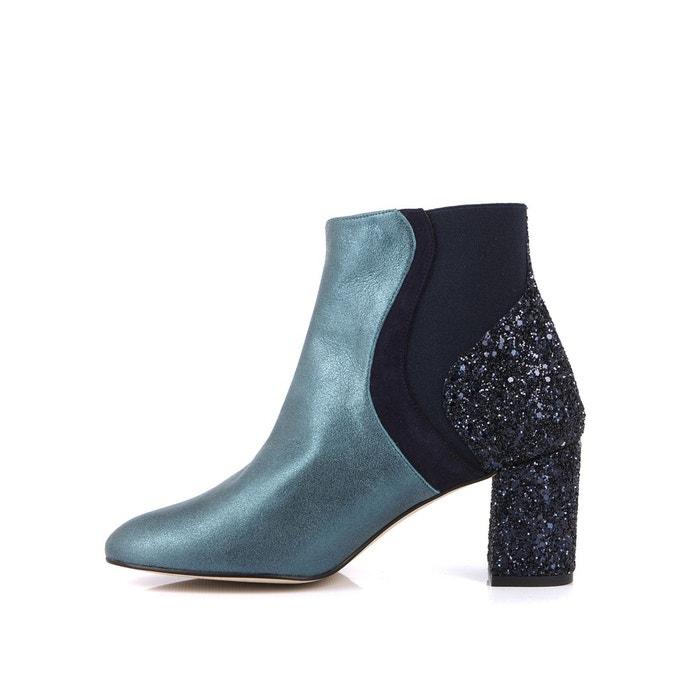 Boots cuir et glitter cecile Mellow Yellow vert + bleu marine