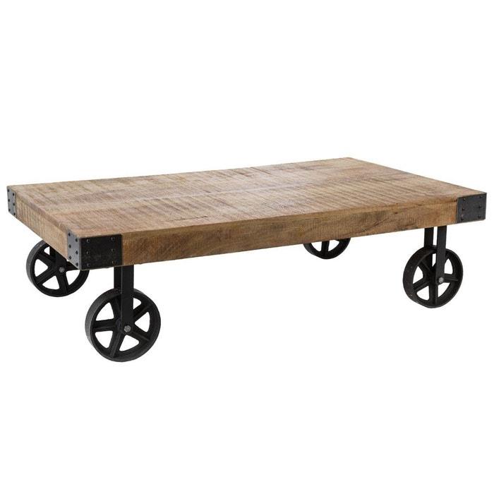 Table Basse à Roulettes Bois Massif Et Métal Style Industriel 117x70cm