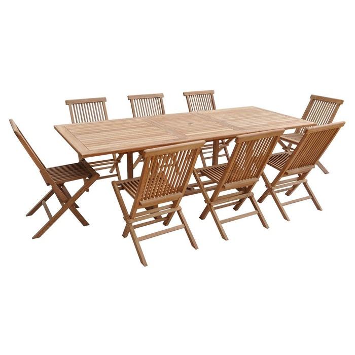 Salon de jardin teck Lombok table rectangulaire - 8 pl
