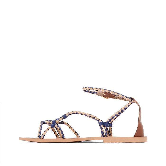 ... Sandales plates cuir détail tresses multicolore La Redoute Collections  ...
