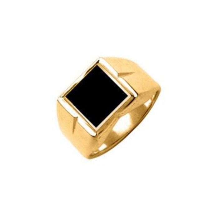 Chevalière bague anneau stries carré onyx noir vermeil (or 750 sur argent 925) couleur unique So Chic Bijoux | La Redoute sneakernews PKSyJuc1O