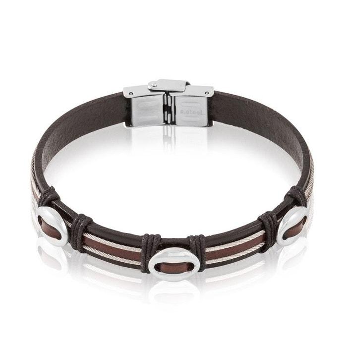 Bracelet acier et cuir blanc Histoire D'or | La Redoute Recommander Pas Cher eE8A2zQlVY