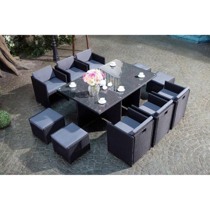 Salon de jardin résine tressée 10 places, miami 10 noir Concept ...