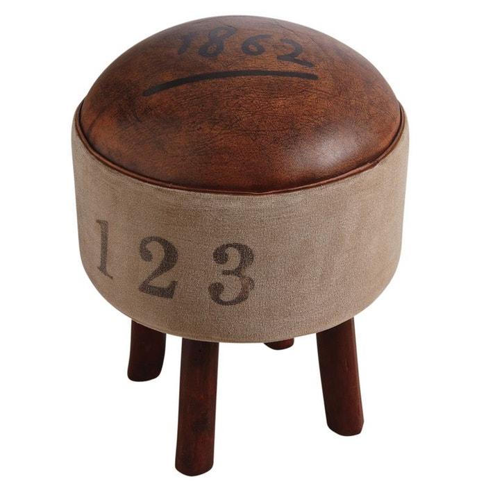 Tabouret Vintage En Coton Et Cuir 2926342 Aubry Gaspard La Redoute