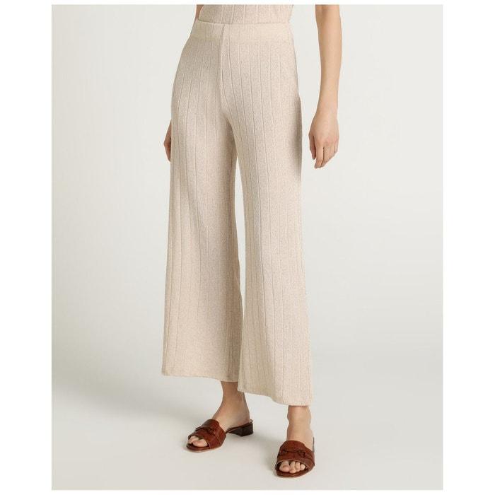 Pantalon ample en maille côtelée beige Woman El Corte ...