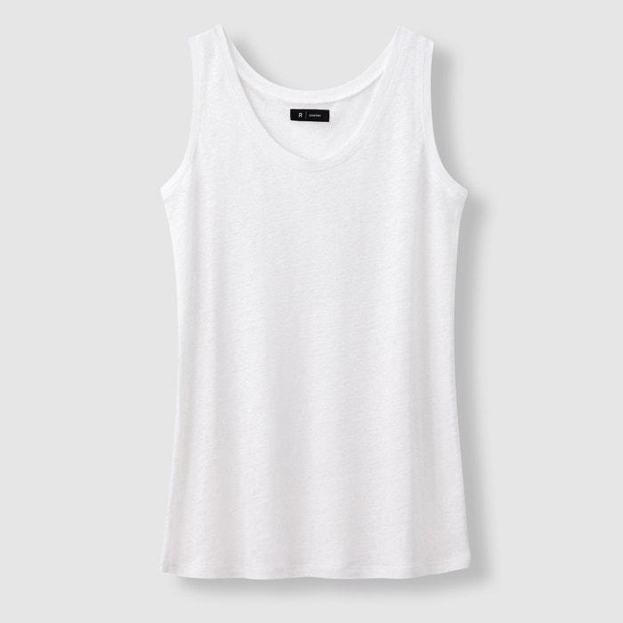 Collections sin cuello lino La de con Camiseta redondo mangas Redoute xnfS7