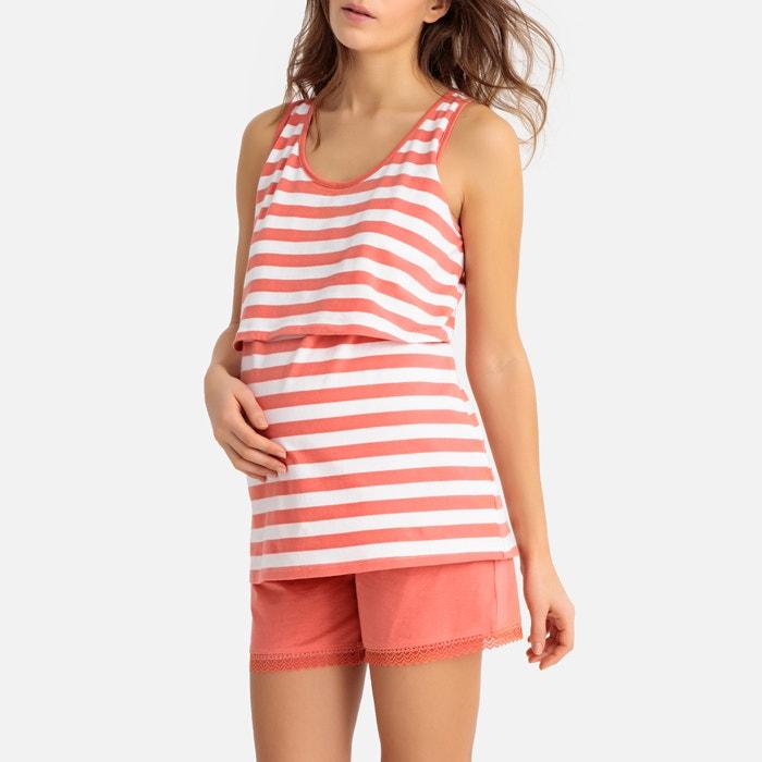 a715dc3f8c4 Pijama con short para embarazo y lactancia rayas coral La Redoute Maternité
