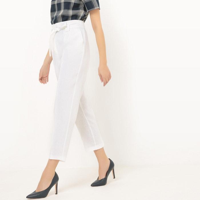 Pantaloni a sigaretta, vita alta, lino  La Redoute Collections image 0