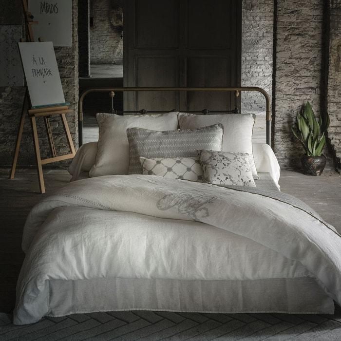 housse de couette en lin lav blanc gris clair sam baron. Black Bedroom Furniture Sets. Home Design Ideas