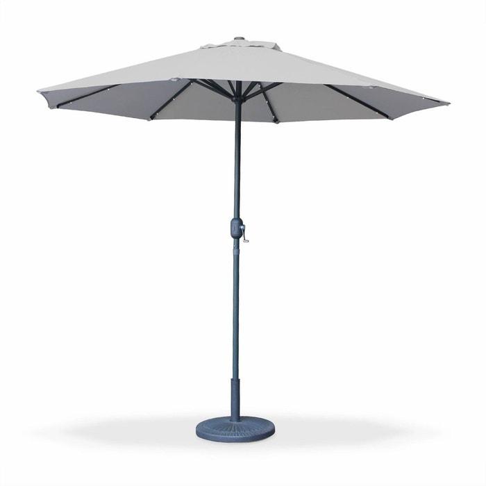 parasol led 2 7m helios gris clair m t central lumi re int gr e et manivelle d 39 ouverture gris. Black Bedroom Furniture Sets. Home Design Ideas