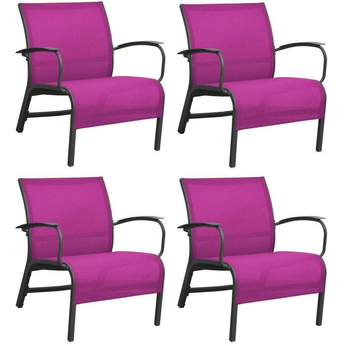 Fauteuil lounge en aluminium linea (lot de 4) gris/framboise ...