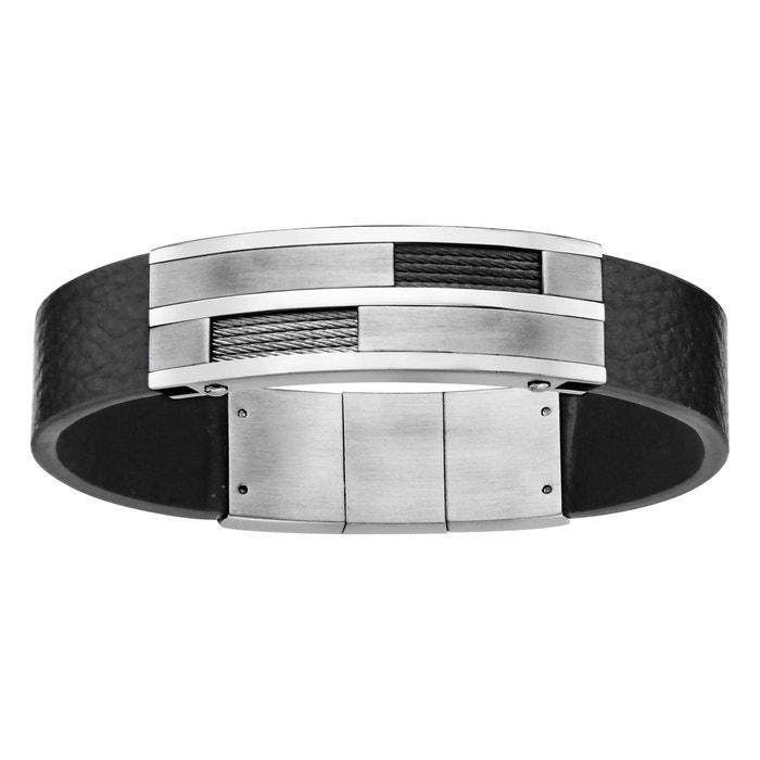 Bracelet longueur réglable: 20 à 21 cm cuir noir plaque câble gris noir acier inoxydable couleur unique So Chic Bijoux   La Redoute Acheter Pas Cher Grand Escompte ouJuXTTfo