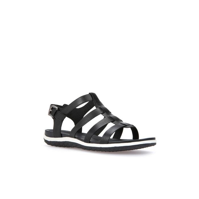 7719a497 Sandalias con tacón transpirables de piel vega negro Geox | La Redoute
