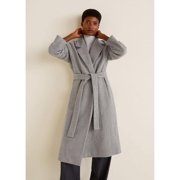 Manteau en laine avec ceinture Mango   La Redoute 7568aec55f2