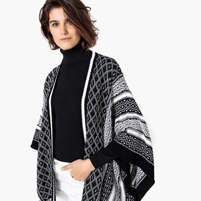 poncho jacquard bicolore noir blanc la redoute collections la redoute. Black Bedroom Furniture Sets. Home Design Ideas