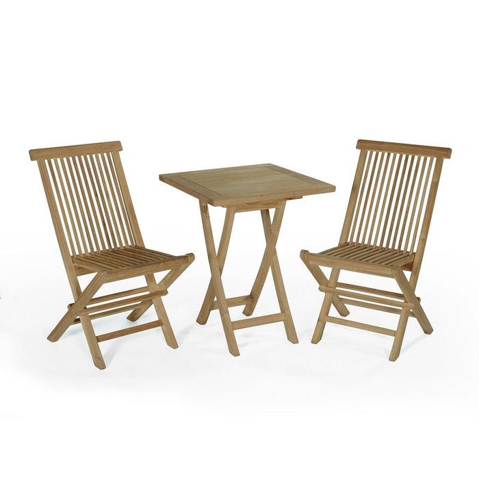salon de jardin en teck ecograde sawu table pliante carre avec 2 chaises java teck - Table Pliante De Jardin
