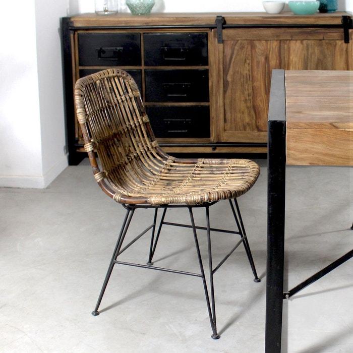 chaise en rotin brun pieds en m tal vdl made in meubles la redoute. Black Bedroom Furniture Sets. Home Design Ideas