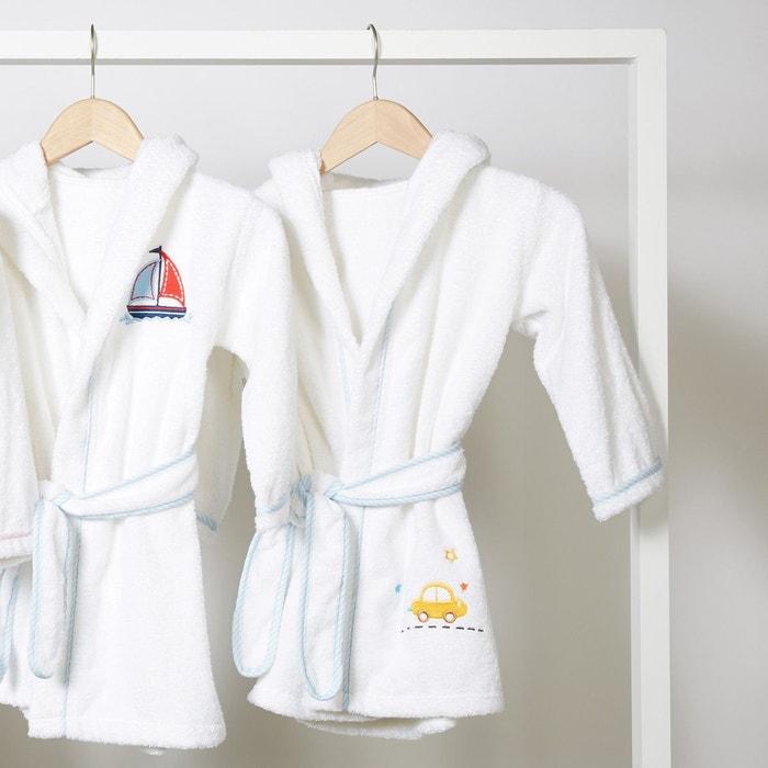 peignoir de bain enfant capuche motif voiture blanc i. Black Bedroom Furniture Sets. Home Design Ideas