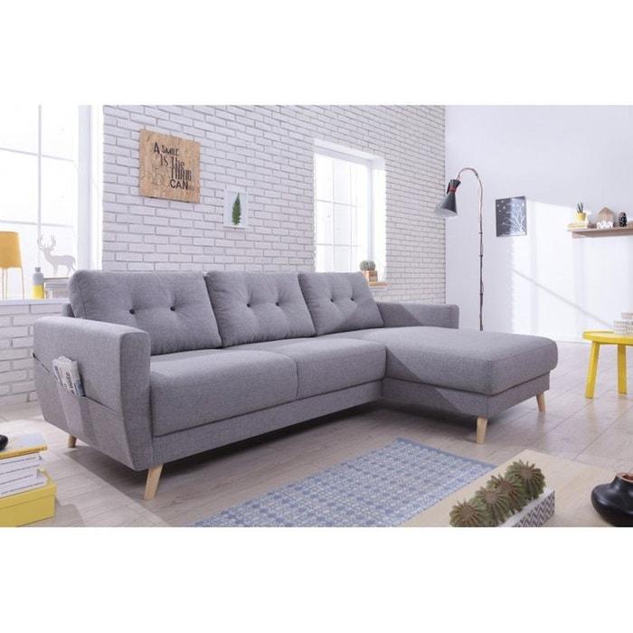 canap scandi angle droit convertible avec coffre gris clair gris bobochic la redoute. Black Bedroom Furniture Sets. Home Design Ideas