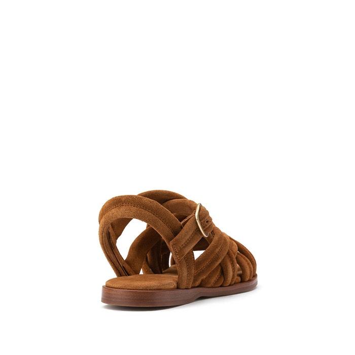 Sandali in pelle tacco piatto BETTY CALF SUEDE