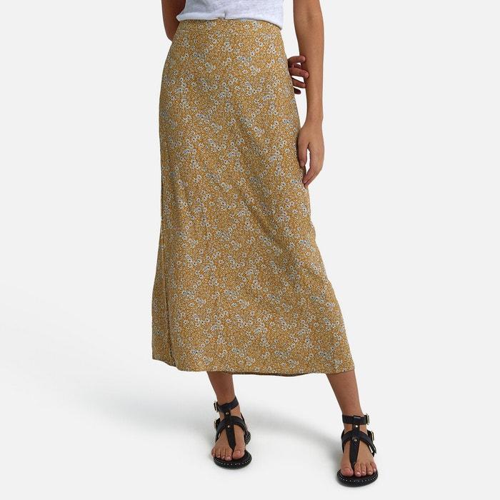 Jupe droite longue, imprimé floral