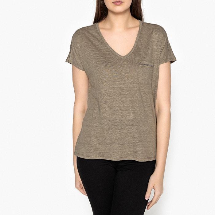 T-shirt con collo a V in lino  IKKS image 0
