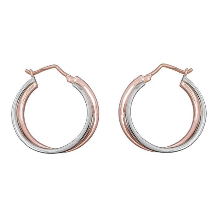 Boucles d oreilles Créoles Double Anneau Doré Rose Bicolore (Palladium   Plaqué  Or 750 2990484d5b2a