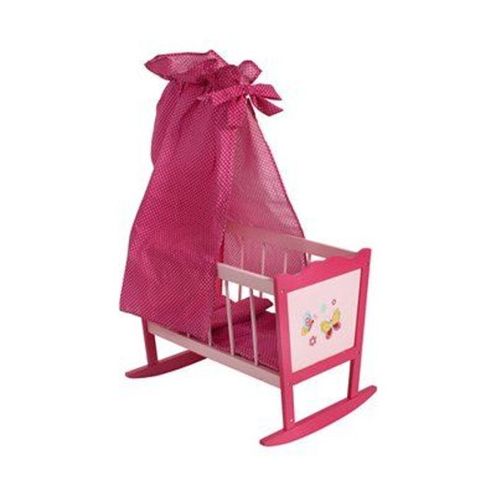 bayer chic le berceau pour poup es avec ciel de lit papilio accessoires pour poup e rose vif. Black Bedroom Furniture Sets. Home Design Ideas
