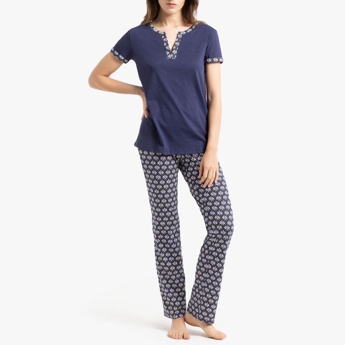 96e7967e087ba Pyjama imprimé, manches courtes bleu La Redoute Collections | La Redoute