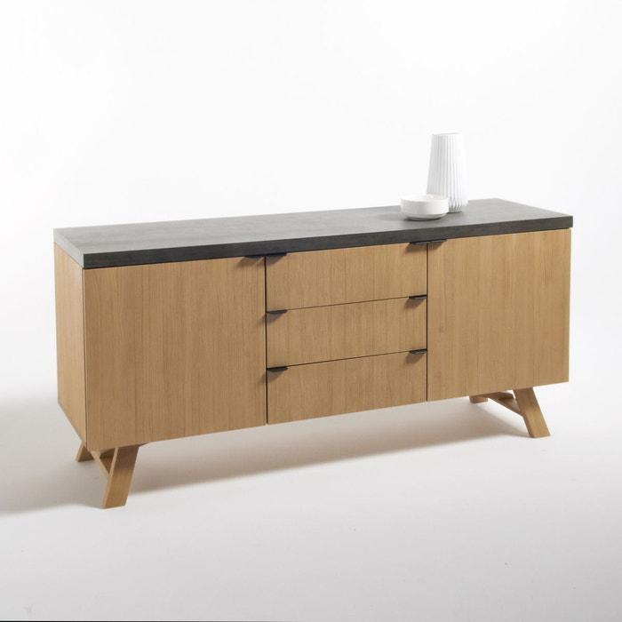 buffet 2 portes 3 tiroirs concrite naturel la redoute interieurs la redoute. Black Bedroom Furniture Sets. Home Design Ideas