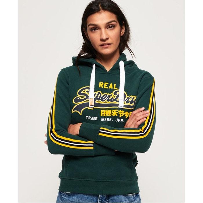 29e768e20081 Sweat à capuche avec logo appliqué vintage vert pinède Superdry