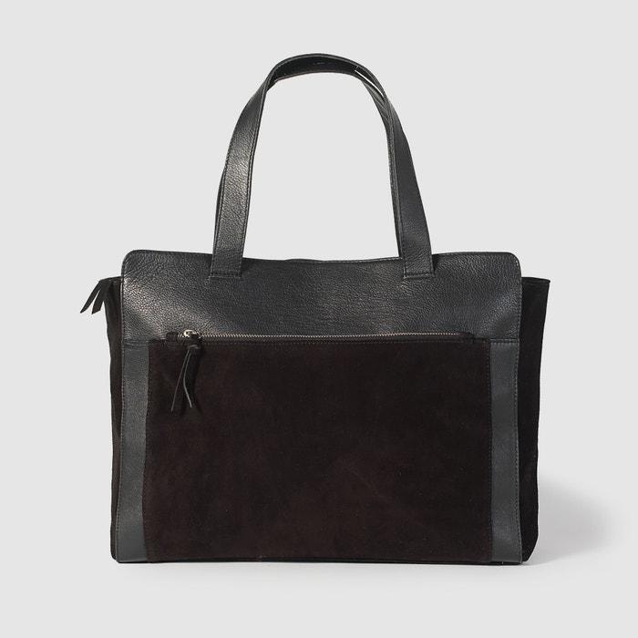 Image Sac bi-matière cuir et croûte de cuir R studio