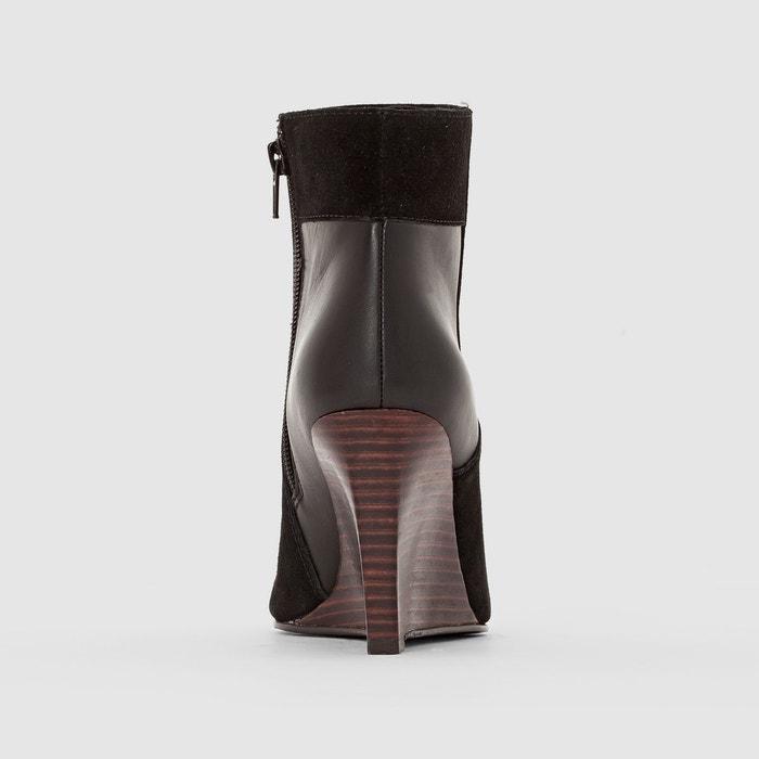 Boots en cuir à talons compensés noir La Redoute Collections