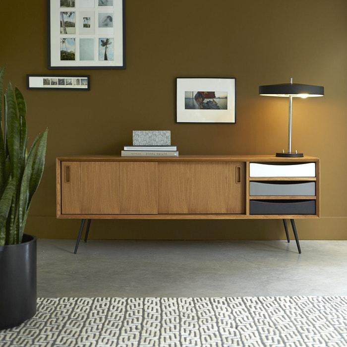 meuble tv en bois de teck 155 ruben teck brut tikamoon la redoute. Black Bedroom Furniture Sets. Home Design Ideas