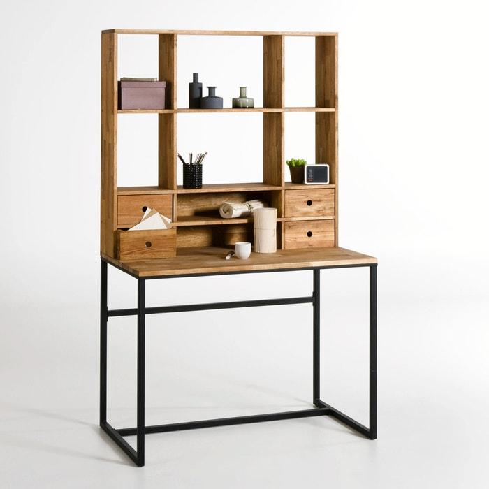 Bureau in eik en metaal met bovenmeubel hiba zwart hout la redoute interieu - Bureau console la redoute ...