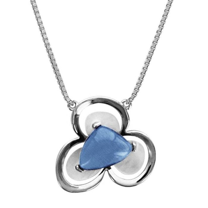 Collier femme longueur réglable: 43 à 45,5 cm fleur oeil de chat bleu nacre blanche argent 925 couleur unique So Chic Bijoux | La Redoute