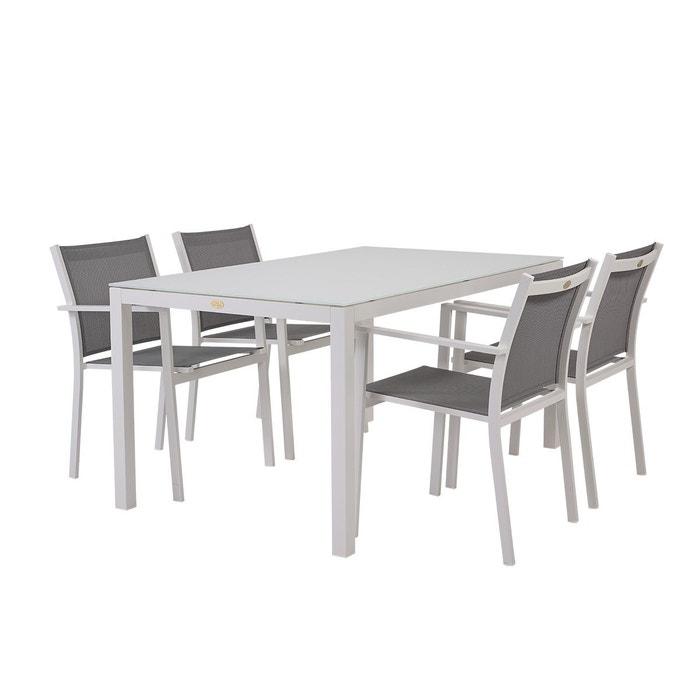 Table et chaises de jardin treves blanc en alu blanc et gris Rotin ...