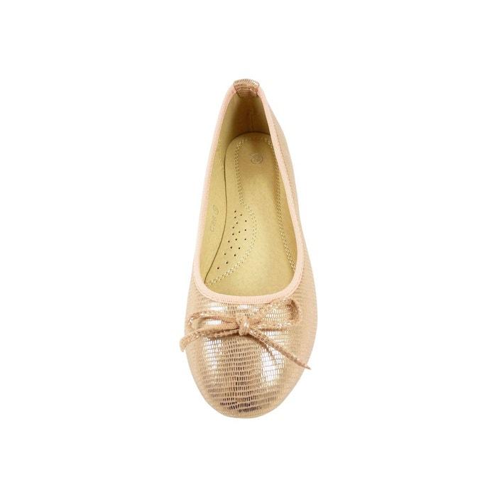 Ballerines en toile façon reptile à noeud chaussure femme, bout rond rose Chaussmaro